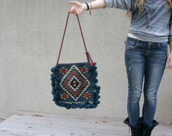 Vintage Bag Festival Summer Purse Kilim Turkish Wool Southwestern Tribal Geometric Triangles Peacock Blue Red
