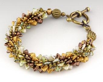 Rustic Spike Bracelet, handmade, beaded, earthy, triangle beads, glass spikes, Chunky, Bangle, Fancy Green Bracelet, Earth Tones, Boho