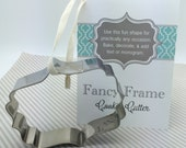 Fancy Frame Cookie Cutter plaque flourish cookie cutter with recipe card  monogram cookies wedding cookies bridal shower baby shower cookies