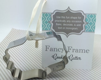 frame cookie cutter fancy plaque flourish cookie cutter w/ recipe card monogram cookies wedding cookies bridal shower baby shower cookies