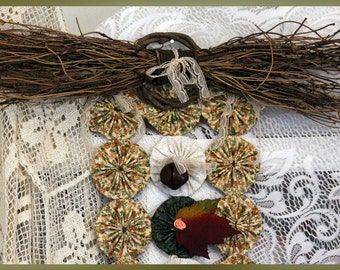 Grapevine Bow Topper, Rustic Country Fall Leaves Yo Yo Door or Wall Hanging with Bells