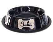 Engraved Dog Bowl - Personalized - Metallic Charcoal - Stainless Steel - Dog bone - Custom - Etched
