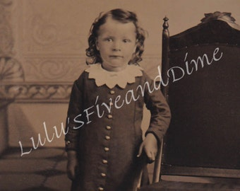 Tintype of An Adorable Little Boy with Curls - Instant Download
