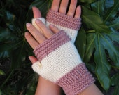 40% OFF SALE!!!  Ella Fingerless Knit Gloves in Blush Pink and Antique White