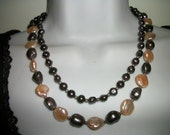 Peacock & Champagne  FW Pearls Set ~TWO necklaces  Earrings Bracelet Sale was 48 now only 42