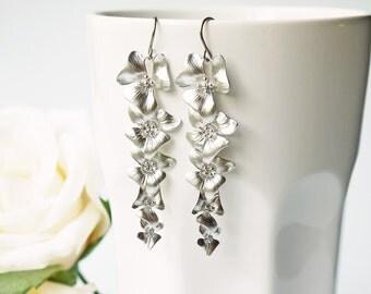 Iris Flower Wedding Earrings Matte Silver Titanium Cascade Style Long Dangle Earrings.