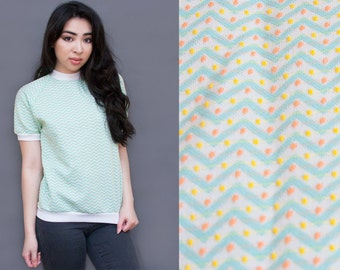 Mint Green Chevron Textured Dot Tee XS S