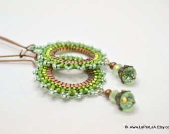 PASSIFLORA EARRINGS - green fern  - beaded beads lace on copper ring