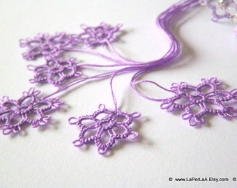 Tatted  Embellishment Flowers in violet - 6pcs hand tatted decoration for scrapbook or embellishment or decoration