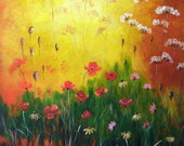 Wild Flowers - Original 24x24x0.75 inches acrylic painting
