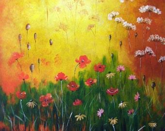 Wild Flowers - Original 24x24x0.75 inches acrylic painting
