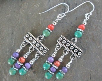 Colorful Magnesite & Silver Chandelier Earrings - Bohemian Style Jewelry