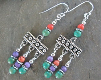 Magnesite and Silver Chandelier earrings - Bohemian style jewelry