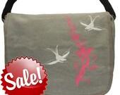 Tattoo Sparrow birds -- Canvas messenger bag -- large field bag -- adjustable strap