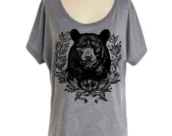 Womens California BEAR T-Shirt - Dolman sleeve slouchy off the shoulder shirt crest sm, med, lg, xl, xxl skip n whistle