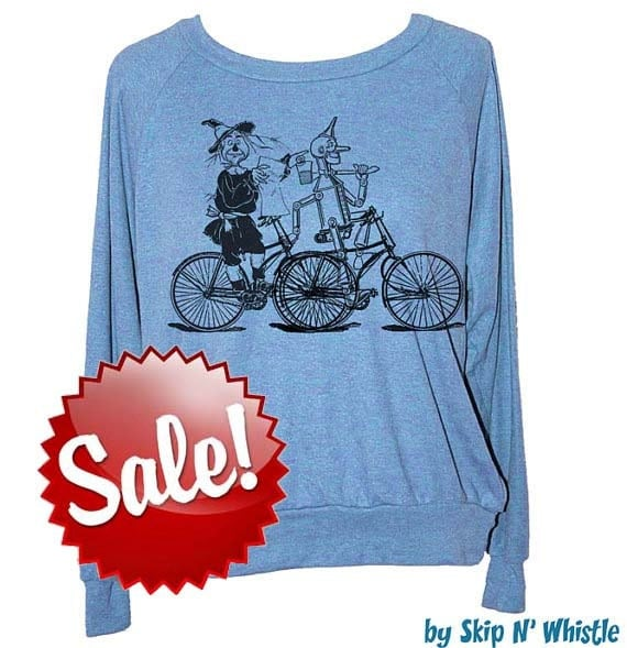 Womens WIZARD of OZ bike  -- Tri Blend Pullover -- american apparel S M L -- (5 Color Options) skip n whistle