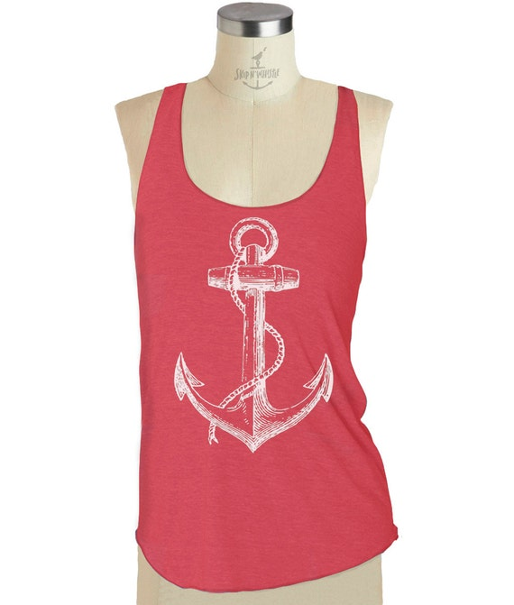 ANCHOR TANK -- Racerback tank top Womens ANCHOR ---  Tri-Blend   S M L (8 Color Options) skip n whistle