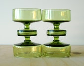 Vintage Green Sherbet Glasses or Coupe Glasses Set of 4