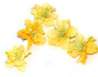 5 Two-Tone Yellow Delphinium - 3- 4 layers - Silk Flowers, Artificial Flowers