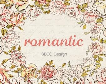 OOAK Etsy Shop Banner Set, Premade Design - Vintage Romantic Roses