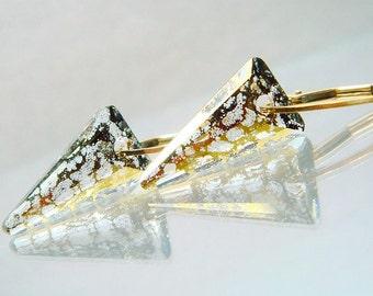 Spike Earrings, Dagger Earrings, Dagger Jewelry, Spike Jewelry, Swarovski Crystal Gold Patina Everyday Earrings, Gold Earrings, Leverback