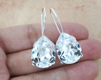 Ourania - Simple Swarovski Crystal Teardrop Earrings, Clear Crystal Earrings, Silver plated, brides bridesmaid bridal simple earrings