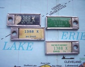 Four Vintage DAV Disabled American Veterans License Plate Key Tag Charms - Ohio plate 1388 X - 1967, 1969, 1973 & 1974 - blue, green, white
