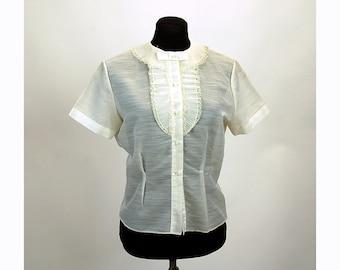 1940s blouse short sleeved sheer ruffled collar crystal pleats ruffled bib blouse, Size M/L