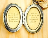 So much of me is made from what I learned from you - Broadway Jewelry - Wicked - Quote Locket - Womens Locket - Friendship Locket