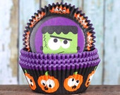 Halloween Cupcake Liners, Halloween Party Cupcake Liners, Pumpkin Cupacke Liners, Silly Moster Cupcake Liners, Cupcake Cases (75)