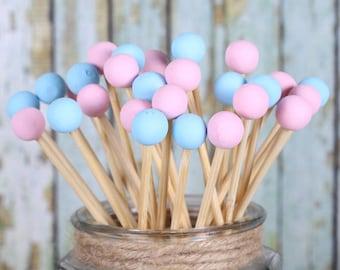 Gender Reveal Lollipop Sticks, Cake Pops Sticks, Marshmallow Pop Sticks, Rock Candy, Baby Shower Lollipop Sticks, Gender Reveal Party (12)