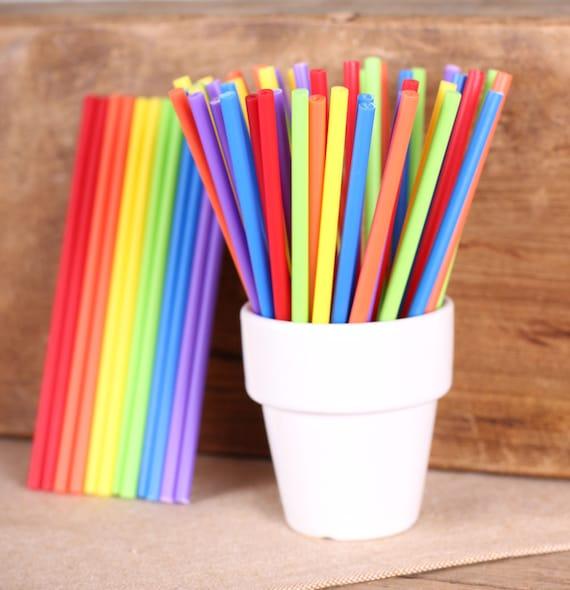 "Bulk Boys Rainbow Lollipop Sticks, Small Rainbow Cake Pop Sticks, Sucker Sticks, Rainbow Party, Plastic Lollipop Sticks (4.5""-100)"