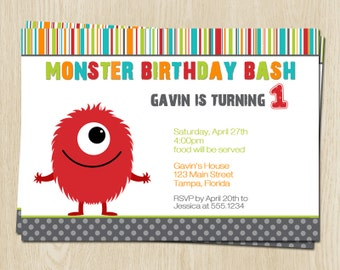Monster, Birthday Party, Invitations, Red, Bash, Gender Neutral, Boys, Bday, Stripes, Polka Dots, Green, Blue, Little, 10 Printed Invites