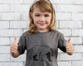 Kid's Bear Graphic Tee Shirt, Short Sleeved Youth T Shirt, Dark Grey, Cotton Crew-neck, Wild Animal Camping in the Woods, Children's Clothes