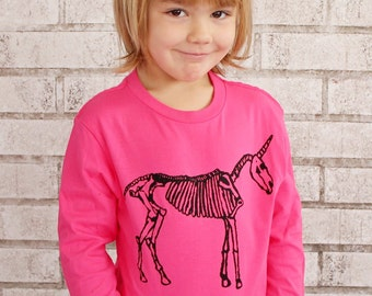 READY to SHIP youth XS Children's Unicorn Skeleton Tshirt, Long Sleeved, Hot Pink, Funny, Horse Anatomy, Toddler Clothing, Fantasy Animal