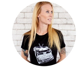 Women's Typewriter T Shirt, Cotton Crewneck, Vintage Inspired, Black and White, Ladies TSHIRT, Graphic Tee, Short Sleeved, Hand Printed