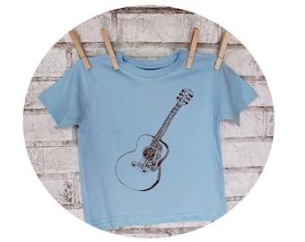 Guitar Shirt, Youth Crewneck Shirt, Screenprinted Music Graphic Tee, Light Blue, Toddler Clothes, Short Sleeved, Musician Gift Cotton TShirt