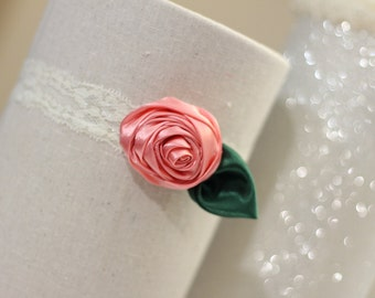 Satin Rolled Rose 1 inch Ivory Lace Headband