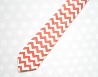 Mens Tie, Coral Chevron Tie, Coral Tie, Coral Wedding Tie