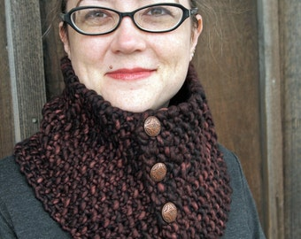 luxurious merino cowl in chocolate brown