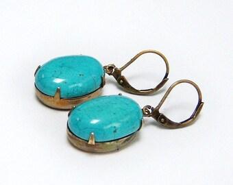 Beautiful/Turquoise Earrings/Oval Turquoise Earrings/Turquoise Cabochon Earrings/Bronze And Turquoise Earrings/Turquoise Stone jewelry()()