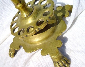 Beautiful Turn of The Century Claw Foot Victorian Frog Candle Holder