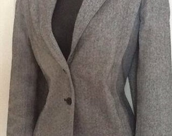 Vintage 80s C&A herringbone tweed short jacket black white woollen boxy blazer size US 10 / UK 12