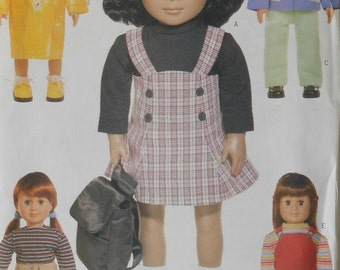 "18"" Doll Clothes Sewing Pattern UNCUT Butterick 6498 school clothes dress raincoat"