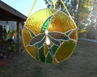 Stained Glass Panel with Dragonfly- Round- Suncatcher