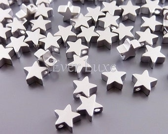 4 MATTE silver 6mm star beads, wholesale star metal beads, beading supplies, jewelry / jewellery 1788-MR-6 (matte silver, 6mm, 4 pieces)