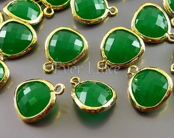 2 palace green glass stone in textured gold bezel setting, crystal glass pendants for jewelry designs 5031G-PG (gold, palace green, 2 pcs)