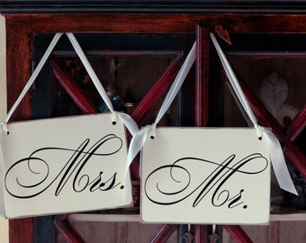 Mr and Mrs Wedding Signs for your Reception. Can be personalized.