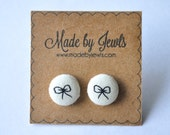 Fabric Covered Button Earrings - Forget Me Knot - Bow - Buy 3, get 1 FREE