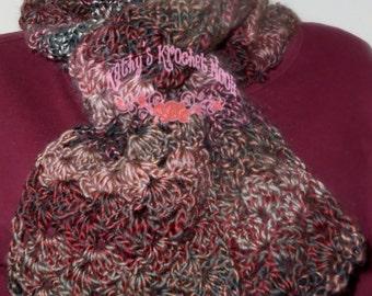 Plum Chutney Heartwarming Crochet Scarf - accessory, crochet, scarf neck warmer, cowl, winter, women, fall, autumn, winter wear